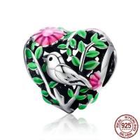 Thailand European Perlen, Herz, ohne troll & Emaille & hohl, 11x11mm, Bohrung:ca. 4.5-5mm, verkauft von PC