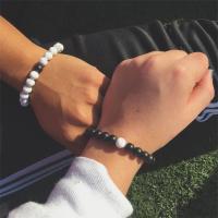 Lava Armband, mit Tigerauge & Natürlicher weißer Türkis & Schwarzer Achat, verschiedenen Materialien für die Wahl & unisex, verkauft per ca. 7.8 ZollInch Strang