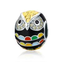 925 Sterlingsilber European Perlen, 925 Sterling Silber, Herz, plattiert, ohne troll & Emaille & mit kubischem Zirkonia, 10x13mm, Bohrung:ca. 4.5-5mm, verkauft von PC
