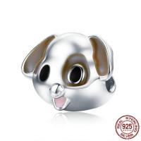 925 Sterlingsilber European Perlen, 925 Sterling Silber, Hund, platiniert, ohne troll & Emaille, 11x13mm, Bohrung:ca. 4.5-5mm, verkauft von PC