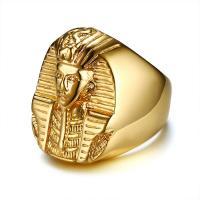 Edelstahl Ringe, Ägyptischen Pharao, goldfarben plattiert, verschiedene Größen vorhanden & für Frau, 27mm, verkauft von PC