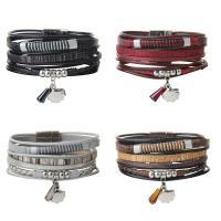 PU Schnur Armbänder, PU Leder, mit Kristall & Zinklegierung, Armband  Bettelarmband & für Frau & Multi-Strang, keine, 22mm, verkauft per ca. 8 ZollInch Strang
