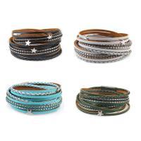 PU Leder Armband, mit Zinklegierung, silberfarben plattiert, für Frau & Multi-Strang, keine, 15mm, verkauft per ca. 16 ZollInch Strang