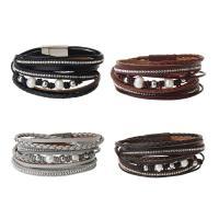 Kuhhaut Armband, mit Kunststoff Perlen & Zinklegierung, silberfarben plattiert, für Frau & mit Strass & Multi-Strang, keine, 16mm, verkauft per ca. 16 ZollInch Strang