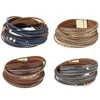 Kuhhaut Armband, mit Zinklegierung, goldfarben plattiert, für Frau & mit Strass & Multi-Strang, keine, 17mm, verkauft per ca. 15 ZollInch Strang