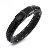PU Leder Armband, mit Edelstahl, schwärzen, verkauft per ca. 8 ZollInch Strang