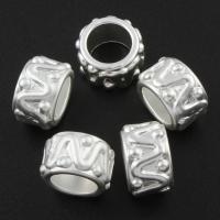Zinklegierung Großes Loch Perlen, Rondell, silberfarben plattiert, frei von Blei & Kadmium, 9x13.5mm, Bohrung:ca. 8mm, 10PCs/Tasche, verkauft von Tasche
