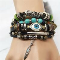 Kuhhaut Armband, mit Non- magnetische Hämatit & Synthetische Türkis & Holz & Harz & Zinklegierung, plattiert, geflochten & böser Blick- Muster & für Frau & Multi-Strang, verkauft per ca. 7 ZollInch Strang
