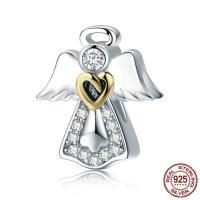 925 Sterlingsilber European Perlen, 925 Sterling Silber, Engel, ohne troll & mit kubischem Zirkonia & zweifarbig, 13x11mm, Bohrung:ca. 4.5-5mm, verkauft von PC