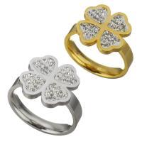 Edelstahl Fingerring, mit Ton, Blume, plattiert, für Frau, keine, 15mm, Größe:8, verkauft von PC