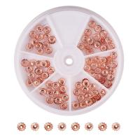 Messing Perlenkappe, mit Kunststoff Kasten, Rósegold-Farbe plattiert, frei von Nickel, Blei & Kadmium, 6x1mm, Bohrung:ca. 1mm, 110PCs/Box, verkauft von Box