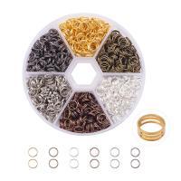 Offene Eisen Biegeringe, mit Kunststoff Kasten, plattiert, gemischte Farben, frei von Blei & Kadmium, 6x0.7mm, 700PCs/Box, verkauft von Box
